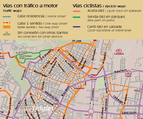 Madrid en VMP y patinete eléctrico. Mapa